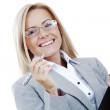Business woman hold a folder and write — Stock Photo