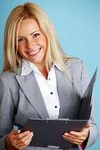 Mulher de negócios segurar uma pasta — Foto Stock