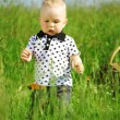 Boy in grass — Stock fotografie #7472537