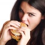 Woman eat burger — Stock Photo #7473428