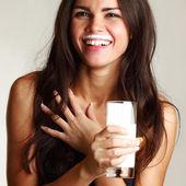 Woman drink yogurt — Stock Photo