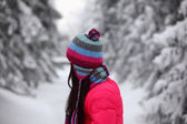 Woman in winter park — Stock Photo