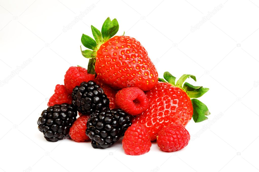 Big berry pile in syrup isolated on white — Stock Photo #7515756