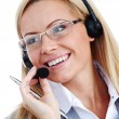 Woman call with headset — Stockfoto