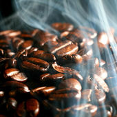 Coffee in smoke — Stock Photo