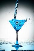 Blue coctail splash — Stock Photo