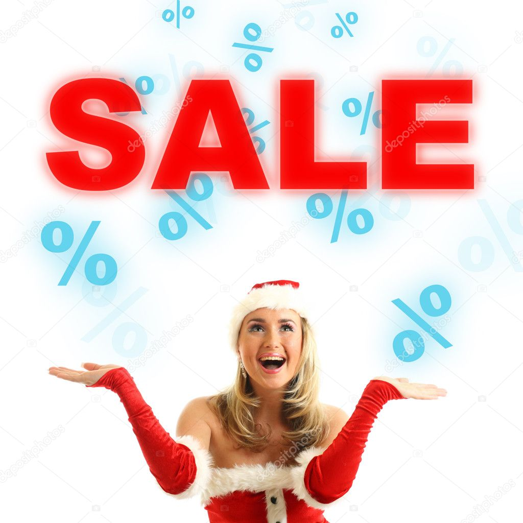 Happy santa girl drop in air sale signs — Stock Photo #7684770