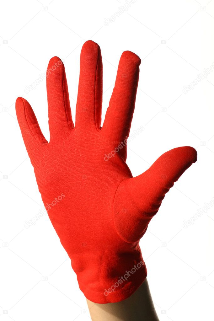 Girl hand in red show sign five — Stock Photo #7685031