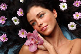 Orchid woman — Stock Photo