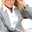 Royalty-Free Stock Photo: Business woman hold a folder and write