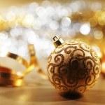 Golden christmas card — Stock Photo