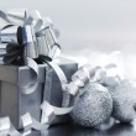 Silver christmas gift — Stock Photo