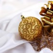 Gold christmas ball — Stock Photo