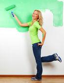 Woman paint on wall — Stok fotoğraf