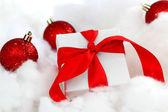 White christmas gift — Stock Photo