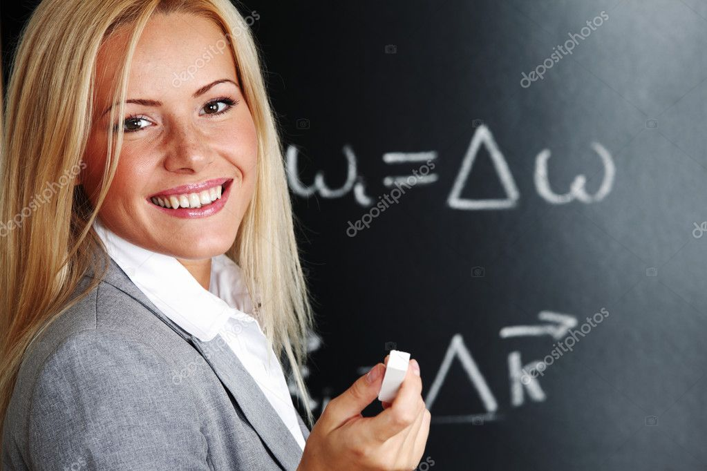 Teacher draw condition of phase synchronism — Stock Photo #7861023