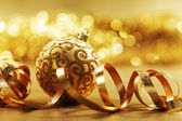 Golden christmas card — 图库照片