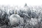 Silver christmas ball — Stock Photo