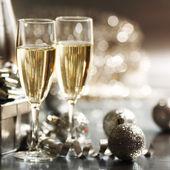 银色圣诞贺卡 — 图库照片
