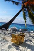Ouro presente na praia do oceano — Fotografia Stock
