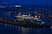 Rotterdam night aerial view — Stock Photo