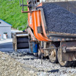 Stock Photo: Laying asphalt. asphalt paver machine and worker.