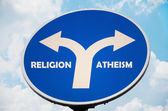 Religion and Atheism sign — Stock Photo
