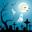 Stock Vector: Cemetery and Ghosts