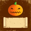 Pumpkin Halloween and paper scroll — Stock Vector