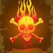 Vector de stock : Illustration of the skull in flames