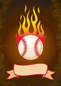 Burning baseball — Stock Vector