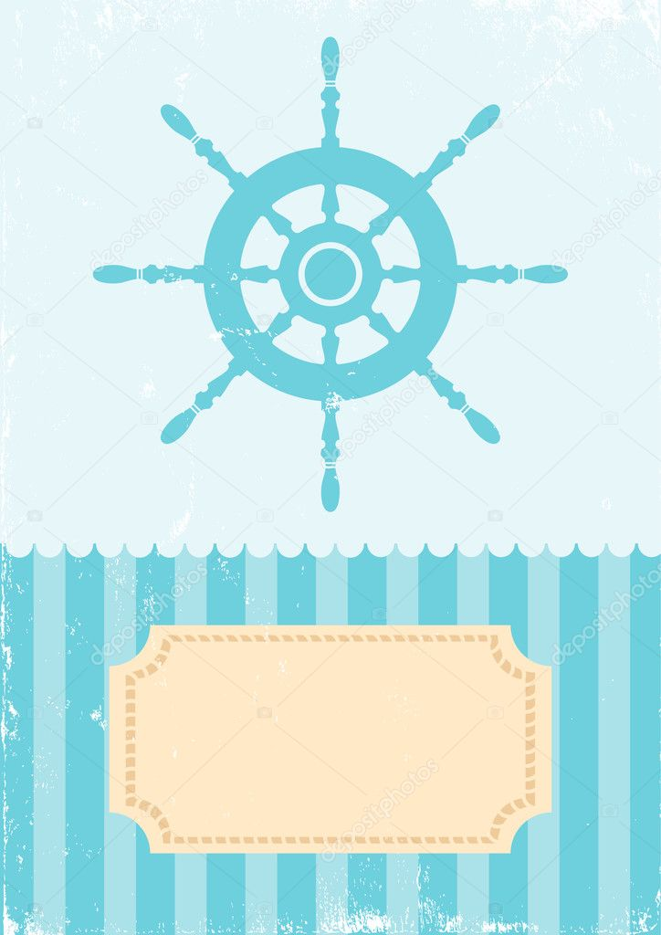 Illustration of the wheel on turquoise background — Stock Vector #6891212