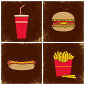 Four illustrations fast food — Cтоковый вектор