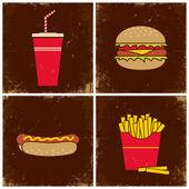 Quatre illustrations fast-food — Vecteur