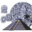 Antique Mayan Pyramid and Glyphs - Stock Vector