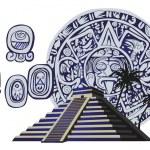 Antique Mayan Pyramid and Glyphs — Stock Vector
