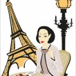 Woman in Paris — Stock Vector
