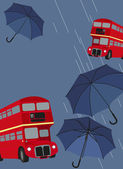 London Bus and Umbrellas — Stock Vector
