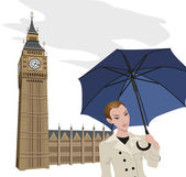 Woman in London — Stock Vector
