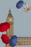 Big Ben and Umbrellas — Stock Vector