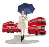 Woman in London — Stock Vector