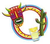 Marco con símbolos mexicanos — Vector de stock