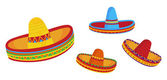 Illustrations of sombreros isolated on white background — Stock Vector