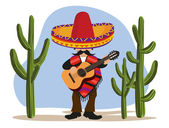 Mexican with Guitar — Stock Vector