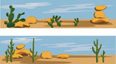 Cactus and Desert — Stock Vector