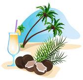 коктейль и кокосовой стружкой — Cтоковый вектор