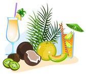 Cocktails en vruchten — Stockvector