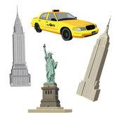 New York City Symbols — Stock Vector