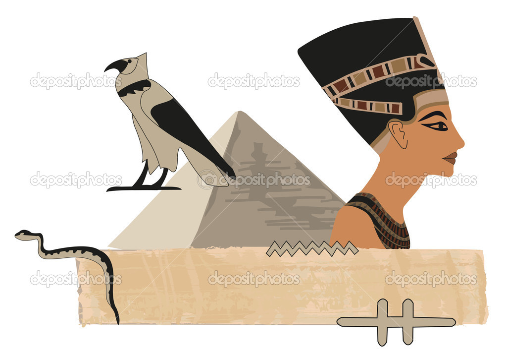 Papyrus banner with Nefertiti and hieroglyphs — Stock Vector #7149568