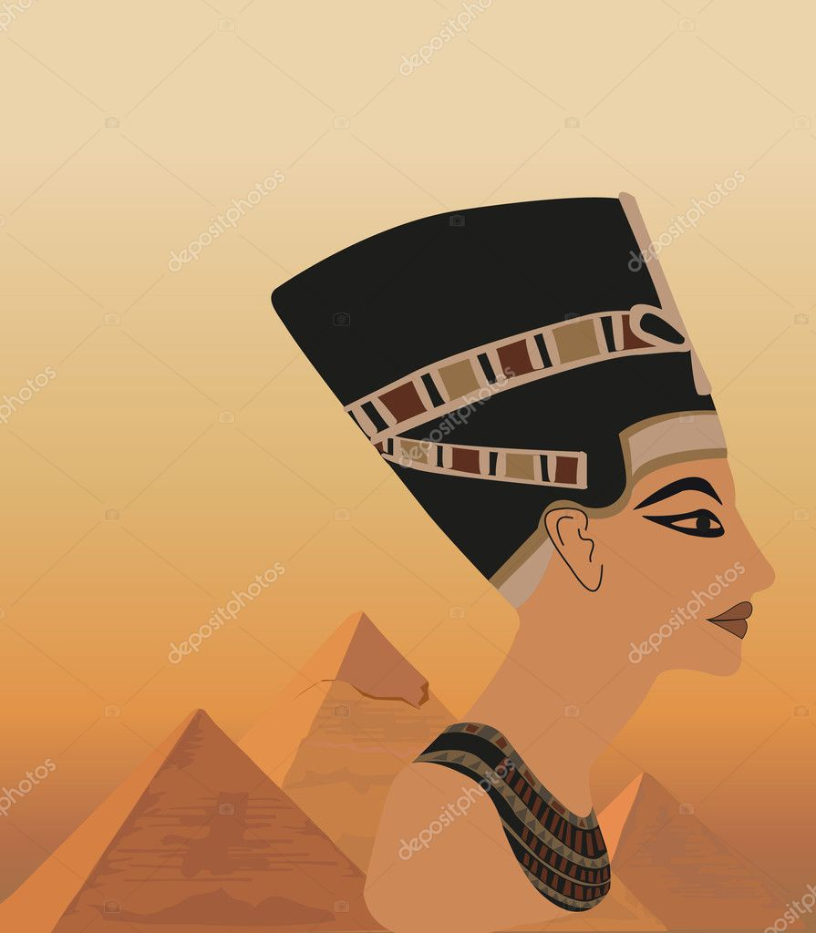 Background illustration with Nefertiti and the pyramids — Stock Vector #7149634